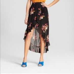a new day Floral Ruffle Wrap Skirt XS L NWT